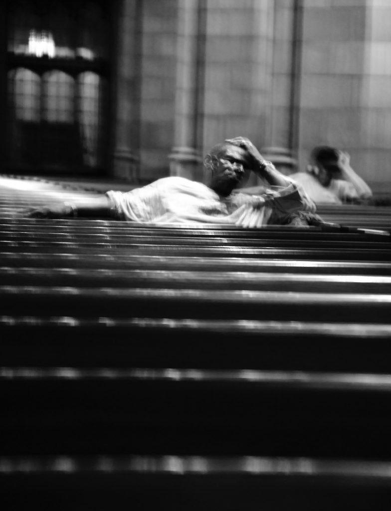 Homeless men, church, Chicago